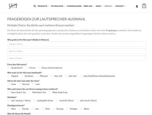 Sehring Audio Systeme GmbH Sehring-Fragebogen hochwertige Lautsprecher Modulsysteme